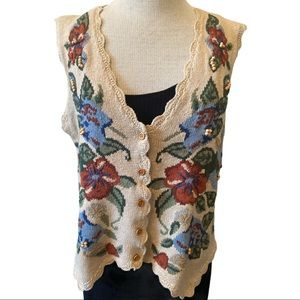 Styleworks Floral Sweater Vest Tan Medium